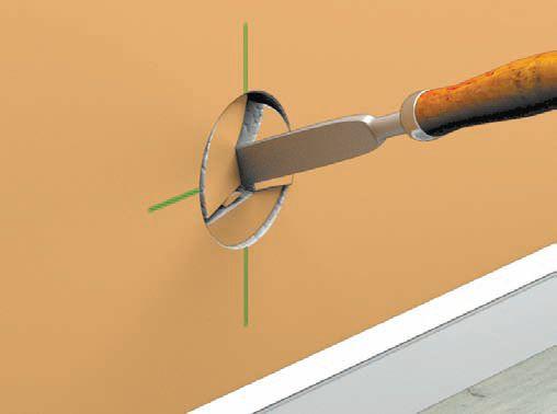 Зубилом или стамеской выламываются куски бетона