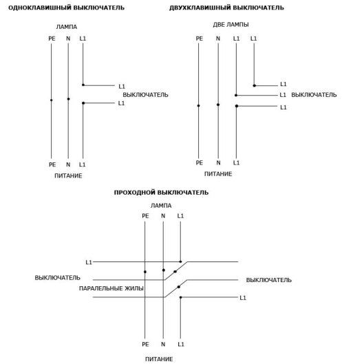 Схема расключения проходного