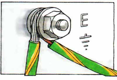 Подсоедините к клемме заземления на электроприборе