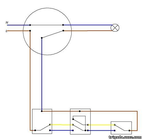 Схема подключения проходного выключателя из двух трех и