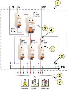 схема включения УЗО при однофазном вводе