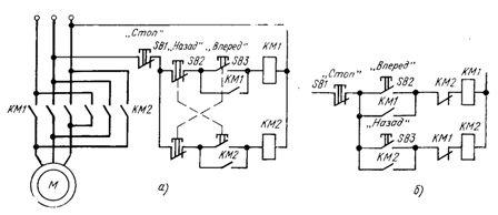 Схемы включения реверсивного магнитного пускателя