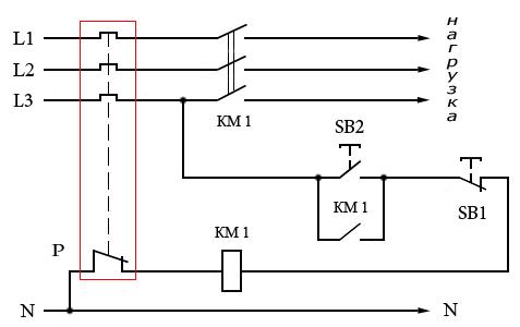 магнитного пускателя KM1