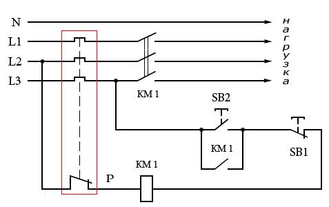 Схема подключения магнитного пускателя с катушкой на 380 В.