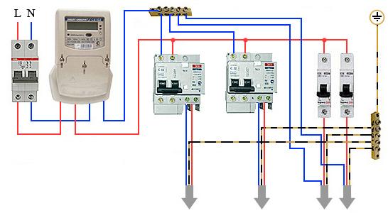 Схема подключения дифавтомата
