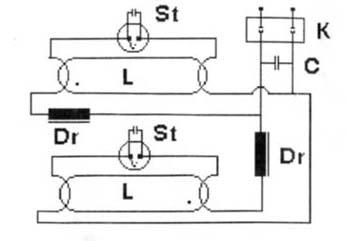 Схема светильника с люминисцентными лампами